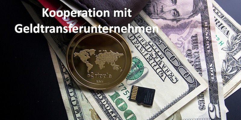 Ripple Münze und Dollar Scheine