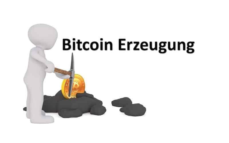 Männchen beim erzeugen von Bitcoins