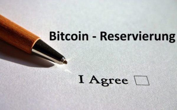 Bitcoin Reservierung Formular mit Stift