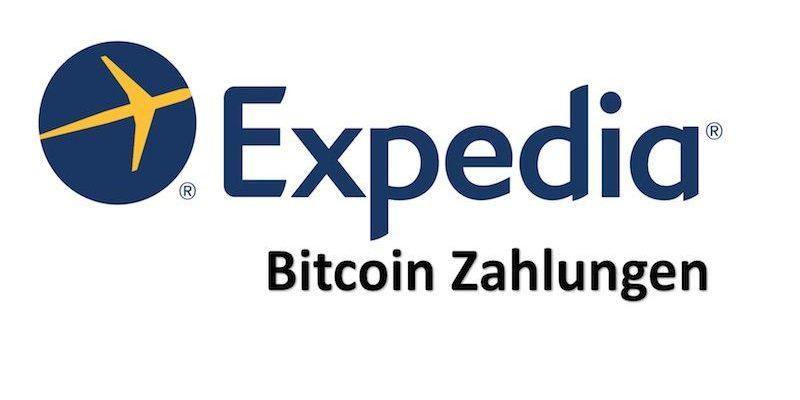 Expedia und Bitcoin Zeichen