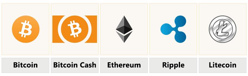 Eine Auswahl der vergügbaren Coins