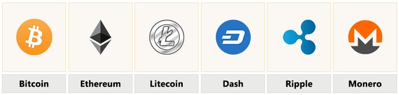 Die Coin Auswahl mit Symbolen