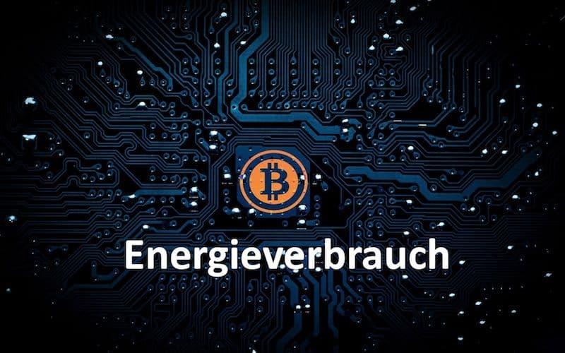Bitcoin Symbol und das Wort Energieverbrauch