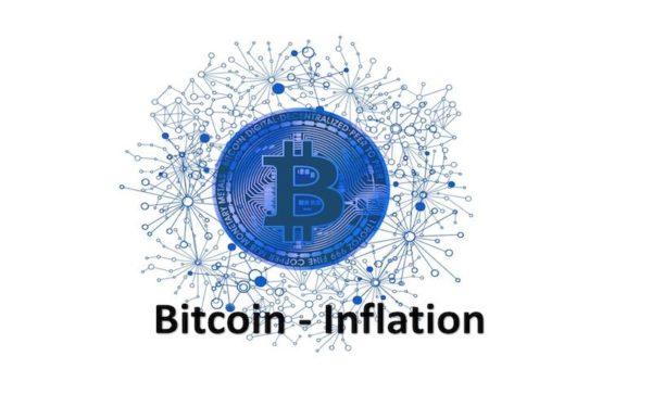 Bitcoin Logo mit dem Wort Inflation