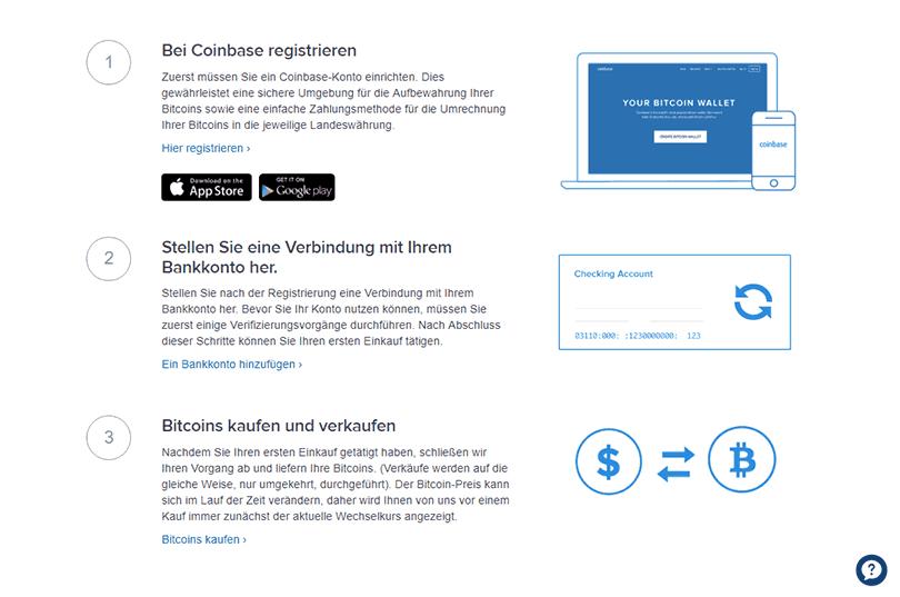 In drei Schritten registrieren Sie sich bei Coinbase