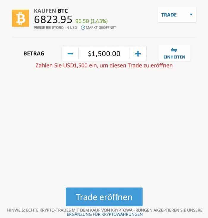 Formular zum Erwerb von Bitcoin