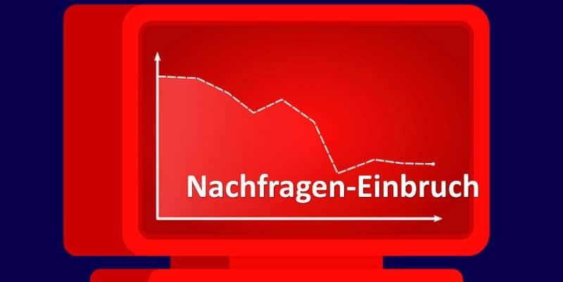 Diagramm mit nach unten verkaufender Kurve auf rotem Bildschirmhintergrund