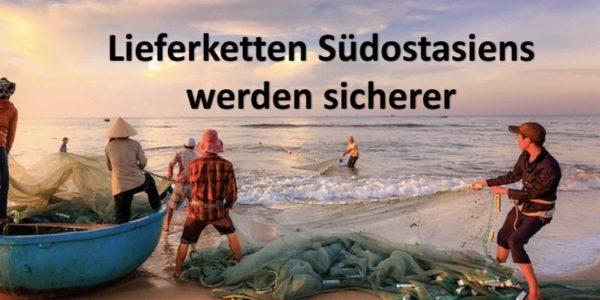 Asiatische Fischer am Meer