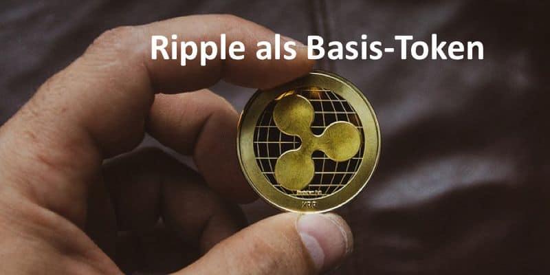 Hand hält Ripple-Coin