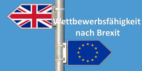 Wegweiser Großbritannien und Wegweiser Europa zeigen in entgegengesetzte Richtungen