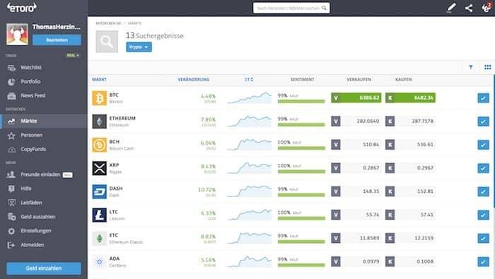 Übersicht aller Krypto Währungen mit Kursen, die man bei eToro handeln kann