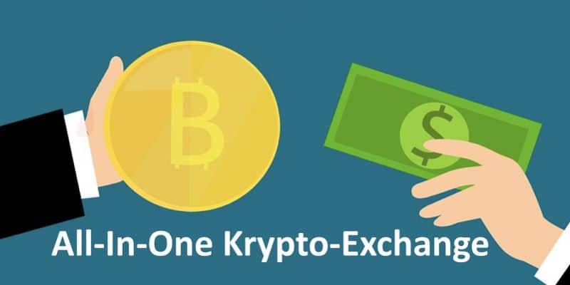 Zwei Hände reichen sich im Austausch einen Bitcoin und einen Dollarschein
