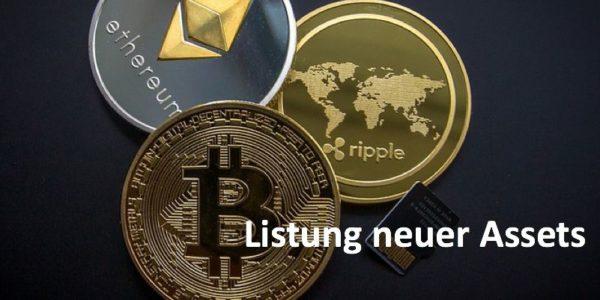 Münzen der drei Kryptowährungen Bitcoin, Ethereum und Ripple