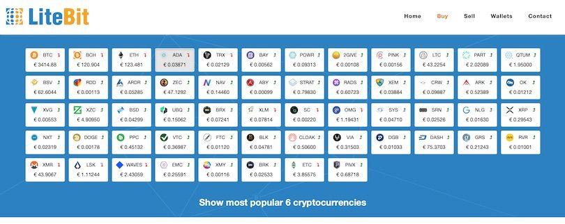 Auswahl der Krypto Währungen bei Litebit